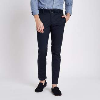 River Island Mens Navy slim fit belted chino trousers