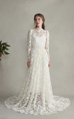 Esperanza Markarian Lace High Neck Silk Sleeved Gown