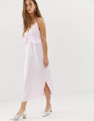 Vero Moda frill detail midi cami dress in pink