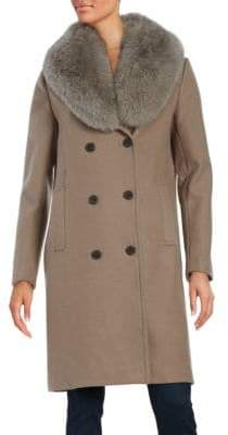 T Tahari Blue Fox Fur-Trimmed Peacoat