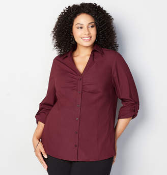 Avenue Stretch Shirred Shirt in Burgundy