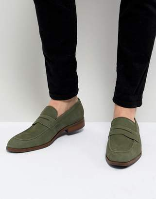 Dune Penny Loafers In Green Nubuck