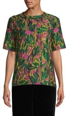 Etro Citron Floral Brocade Top