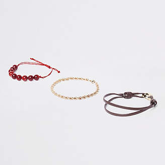 River Island Red bead and gold tone bracelet pack