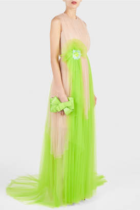 DELPOZO Tulle Bow Gown