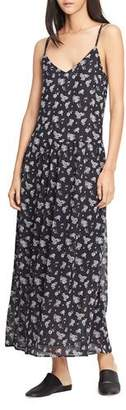 Vince Calico Floral Shirred Waist Dress, Coastal Blue