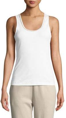 Joan Vass Golden-Chain Sleeveless Cotton Tank Top, Petite