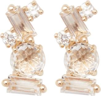 Suzanne Kalan Baguette White Topaz Stud Earrings