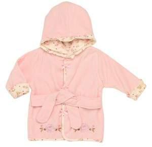 Little Me Baby Girl's Rose Hooded Velour Bathrobe