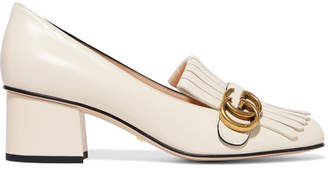 Gucci Marmont Fringed Logo-embellished Leather Pumps - White