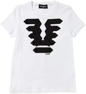 DSQUARED2 Grosgrain Details Cotton Jersey T-Shirt