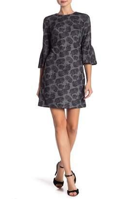 Modern American Designer Floral Ponte Bell Sleeve Dress
