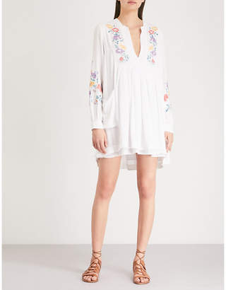 Free People Floral embroidery gauze dress