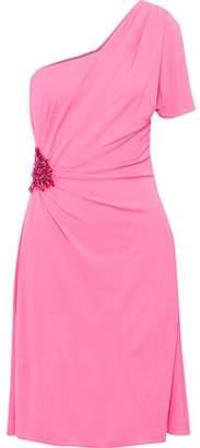 Versace One-Shoulder Embellished Gathered Cady Dress