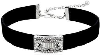 Kenneth Jay Lane Black Velvet with Silver/Crystal Deco Choker Necklace