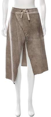 Giorgio Brato Leather-Accented Wrap Skirt