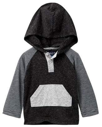 Andy & Evan Black Hooded Henley Long Sleeve Tee (Baby Boys)