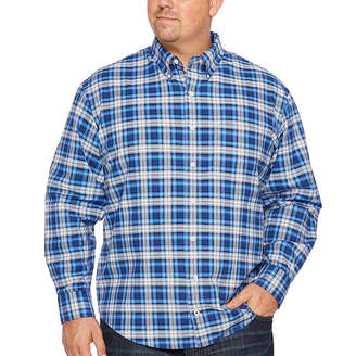 Izod Long Sleeve Plaid Oxford Woven Long Sleeve Plaid Button-Front Shirt-Big and Tall