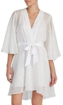 Halston H Clip Dot Jacquard Chiffon Wrap Robe