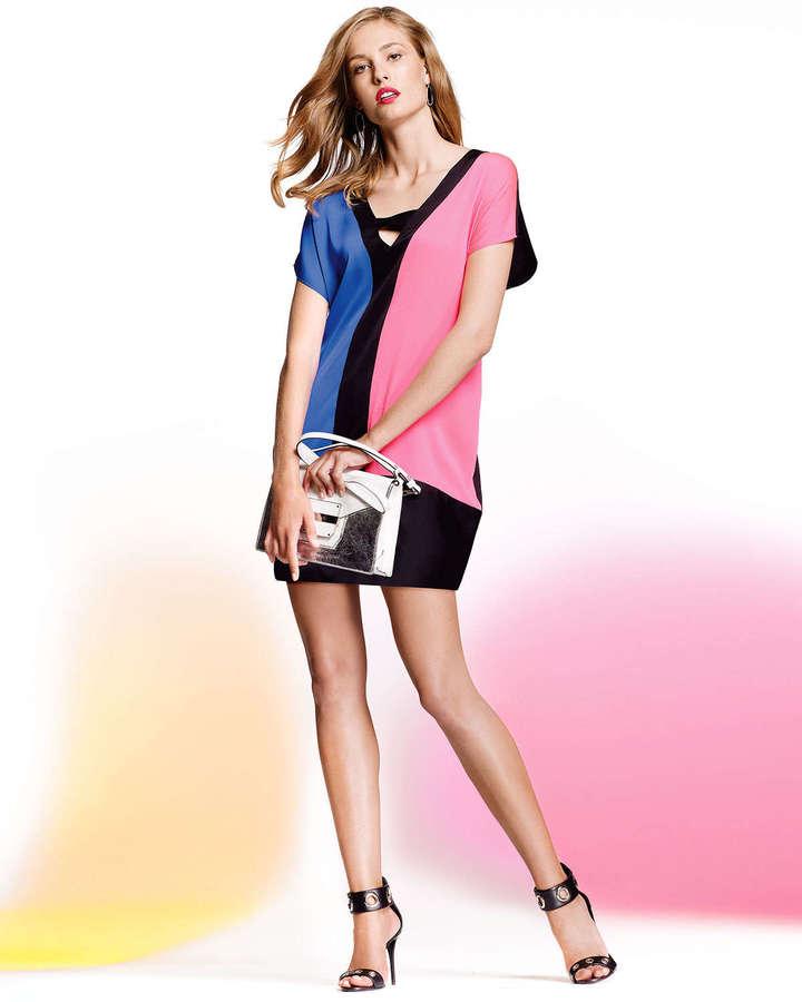 Milly Colorblock Stretch-Silk Dress