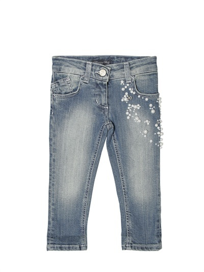 Miss Blumarine Pearl Appliqué Denim Jeans