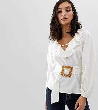 Asos Design DESIGN long sleeve ruffle v neck blouse with wicker buckle belt detail in linen
