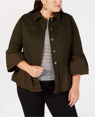 Style&Co. Style & Co Plus Size Tiered Denim Jacket, Created for Macy's