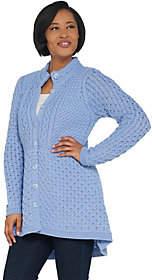 Aran Craft Merino Wool HI-Low Button FrontSweater