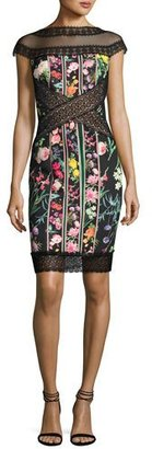 Tadashi Shoji Cap-Sleeve Paneled Floral Cocktail Dress, Multicolor $370 thestylecure.com