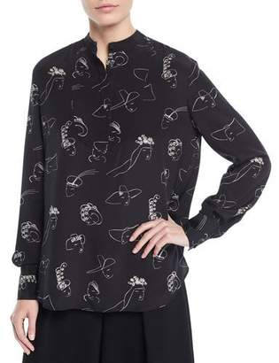 Co Face-Print Long-Sleeve Split-Back Silk Tunic Blouse