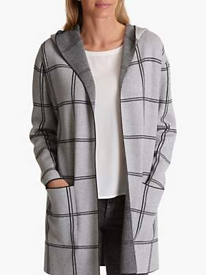 Hooded Geometric Check Cardigan, Silver/Black
