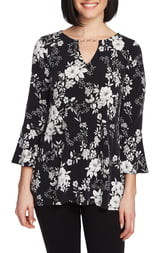 Chaus Moonlit Buds Bell Sleeve Keyhole Top