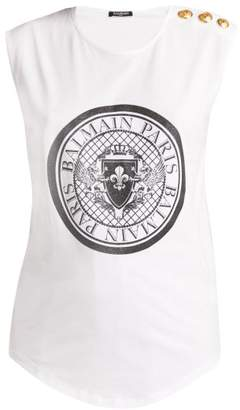Balmain Glittered Coin Print Cotton Jersey Tank Top - Womens - White Black