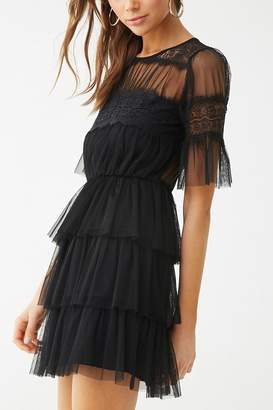 Forever 21 Sheer Tiered-Ruffle Dress