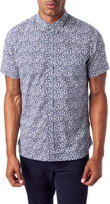 7 Diamonds Renegade Parade Slim Fit Print Short Sleeve Cotton Blend Button-Down Sport Shirt