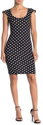 Velvet Torch Flutter Cap Sleeve Polka Dot Print Dress