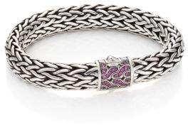 John Hardy Classic Chain Pink Sapphire& Sterling Silver Large Bracelet