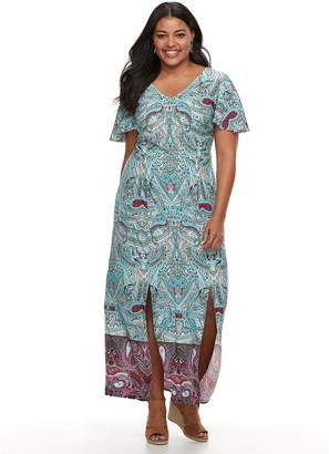Plus Size Suite 7 Paisley Flutter Maxi Dress