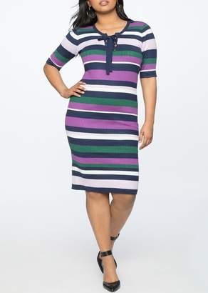 ELOQUII Striped Ribbed Dress