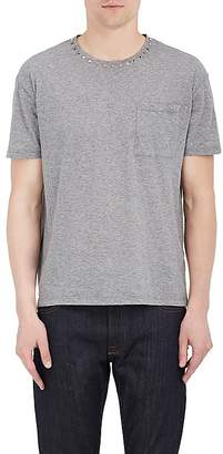 Valentino Men's Studded-Collar Cotton T-Shirt