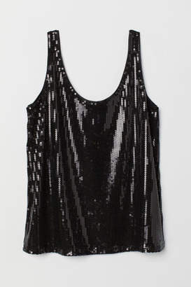 H&M Sequined Tank Top - Black