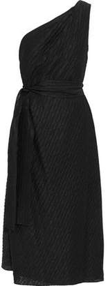 Carolina Herrera One-Shoulder Pleated Woven Midi Dress