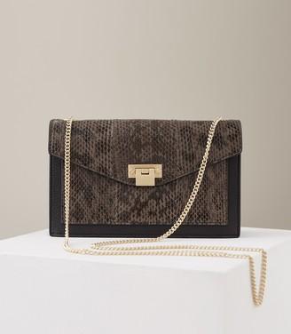 Reiss Coleville Snake Leather Cross Body Bag