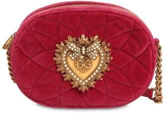 Dolce & Gabbana Devotion Quilted Velvet Camera Bag