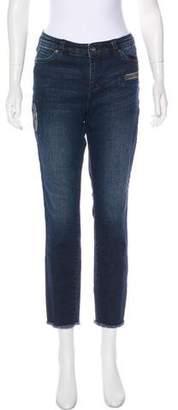 Ecru Mid-Rise Straight-Leg Jeans