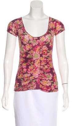 Blumarine Ruched Wool T-Shirt