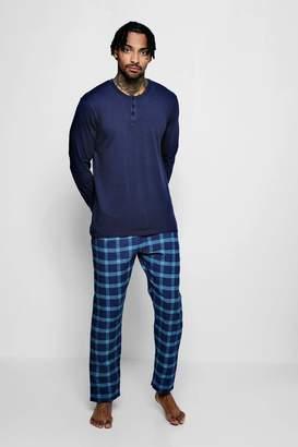 boohoo Long Sleeve Grandad Collar PJ Set With Check