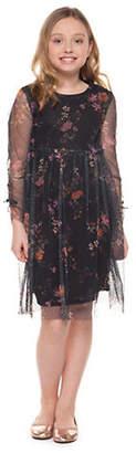 Dex Long-Sleeve Mesh Dress