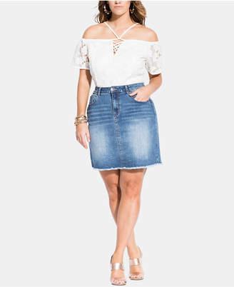 City Chic Trendy Plus Size Raw-Hem Denim Skirt