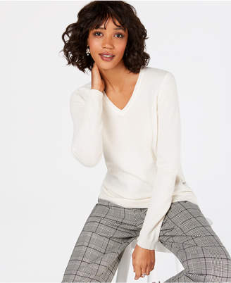 Charter Club Petite Pure Cashmere V-Neck Sweater